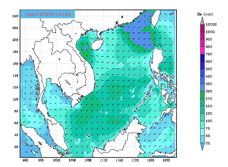 Bản tin dự báo sóng biển 10 ngày tới (từ ngày 24/01/2020 đến ngày 02/02/2020)
