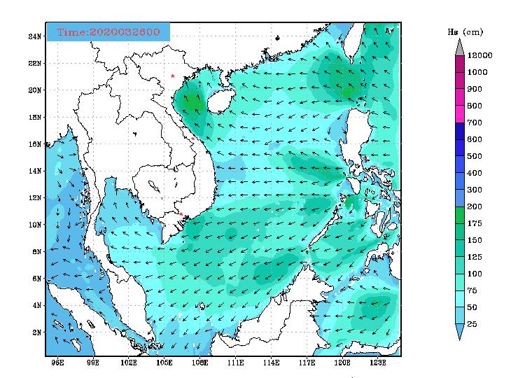 Bản tin dự báo sóng biển 10 ngày tới (từ ngày 26/03 đến ngày 04/04/2020)