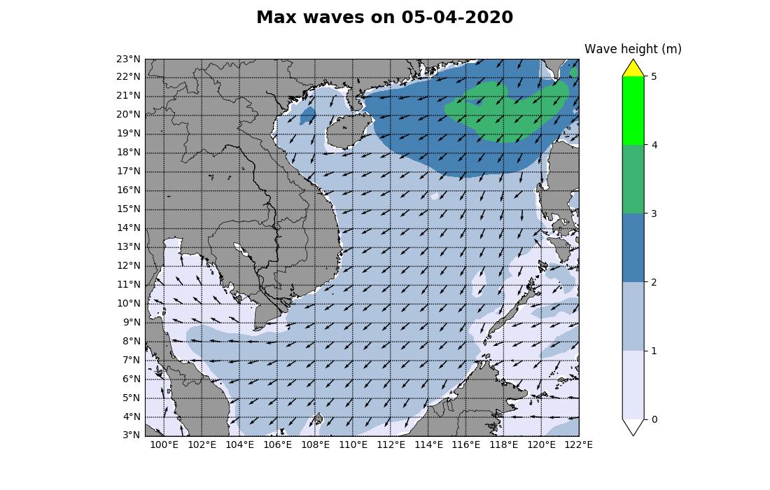 Bản tin dự báo sóng biển 10 ngày tới (từ ngày 05/04 đến ngày 14/04/2020)