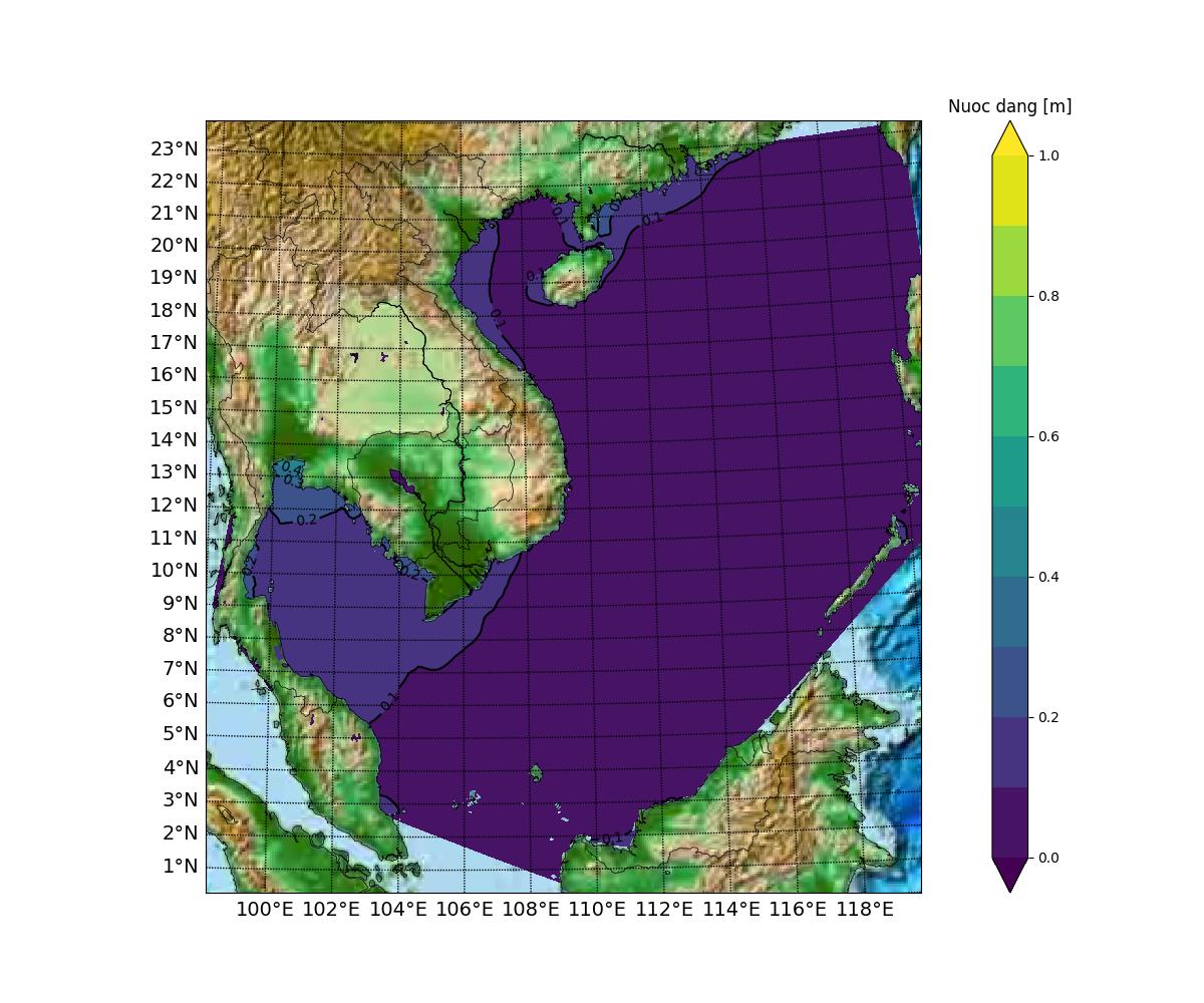 Dự báo trường nước dâng do gió lớn nhất 3 ngày tới