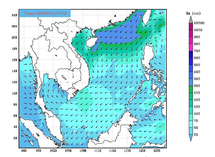Bản tin dự báo sóng biển 10 ngày tới (từ ngày 07/04/2020 đến ngày 16/04/2020)