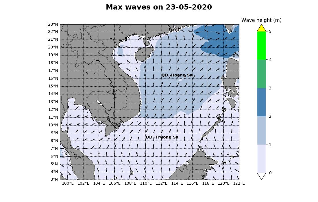 Bản tin dự báo sóng biển 10 ngày tới (từ ngày 23/05 đến ngày 01/06/2020)