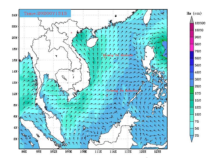 Bản tin dự báo sóng biển 10 ngày tới (từ ngày 14/07/2020 đến ngày 23/07/2020)
